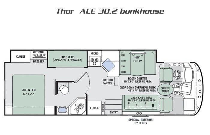 <em>Thor Motor Coach A.C.E 30.2 BUNKHOUSE RVs</em> for Sale in <em>fort myers, Florida</em>